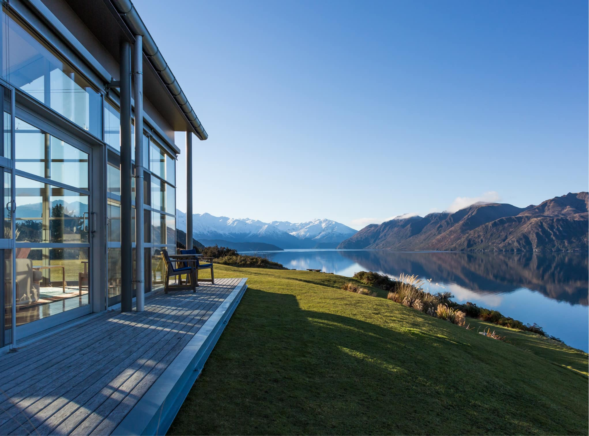 View over Lake Wanaka from Whare Kea luxury accommodations