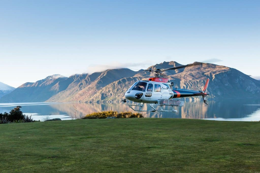 Heli incoming to Whare Kea Lodge